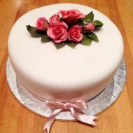 1 Tier Cake with Pink Rose Spray