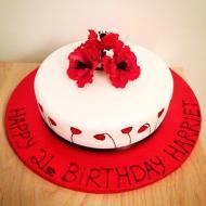 1 Tier Red Velvet Cake with Poppy Spray