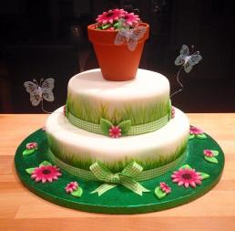 2 Tiered Gardening Themed Cake