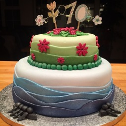 2 Tiered Rowing and Gardening Themed Cake