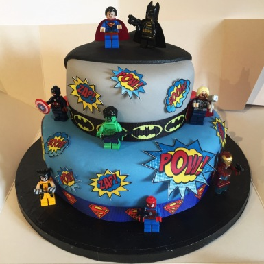 2 Tiered Lego Superhero Cake